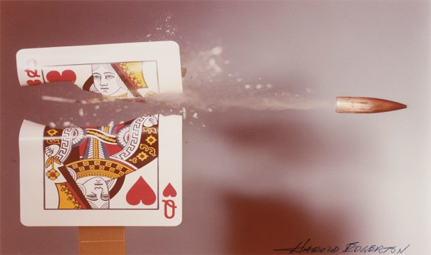 Queen of Hearts playing card hit by a .30 calibre bullet