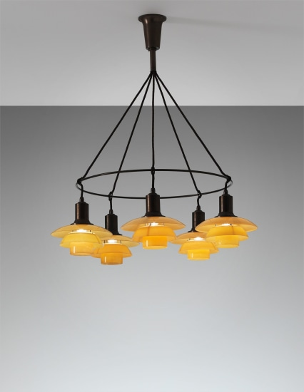 Five-armed single 'Ring' chandelier, type 2/2 shades
