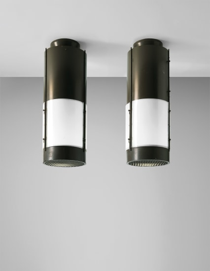 Pair of large ceiling lights, designed for the cinema Mediolanum, Milan