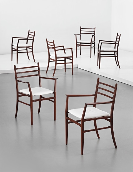 Set of six dining chairs, from the 'Trieste' series