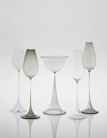 Group of five glasses, from the 'Tulip' series
