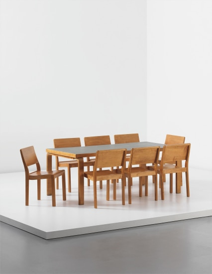 Dining table and set of eight stacking chairs, model no. 11/3