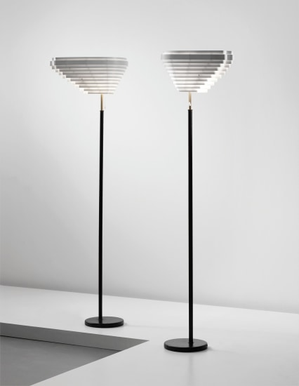Pair of 'Angel's Wing' standard lamps, model no. A 805, designed for the National Pensions Institute, Helsinki