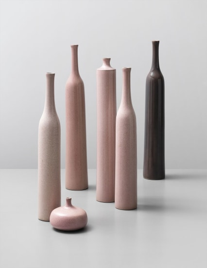 Group of six vases