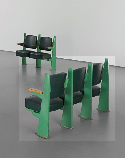 Row of three lecture theatre chairs with adjustable seats, designed for the Faculté de Lettres, Université de Besançon