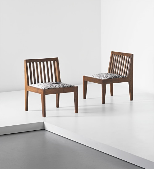 Pair of lounge chairs, model no. PJ-SI-18-A, designed for the Post Graduate Institute lounge and private residences, Chandigarh