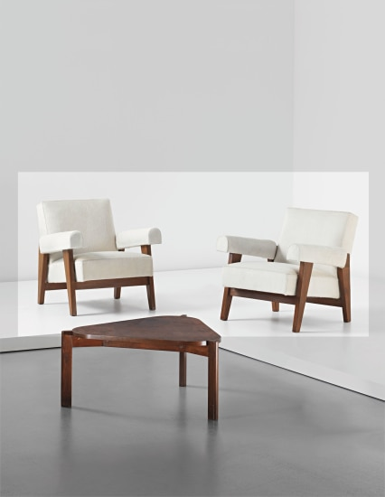 Pair of armchairs, model no. LC/PJ-SI-42-A/B, designed for the High Court and Assembly, Chandigarh