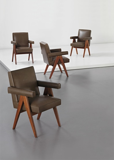 Set of four 'Committee armchairs', model no. PJ-SI-30-A, designed for the designed for the High Court, Assembly and Panjab