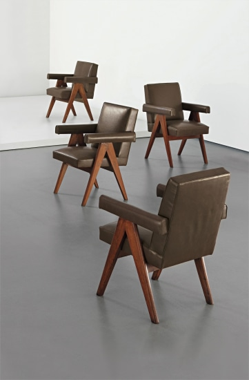 Set of four 'Committee armchairs', model no. PJ-SI-30-A, designed for the High Court, Assembly and Panjab University administrative buildings, Chandigarh
