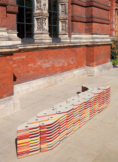 Unique 'Bench of Plates' bench, for 'Bench Years', commissioned by the London Design Festival