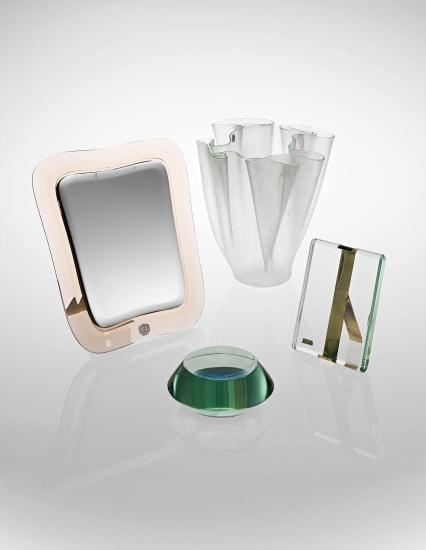 'Cartoccio' vase, picture frame, model no. 1370, ashtray, model no. 2235 and table mirror