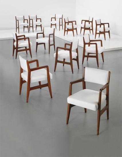 Set of twelve dining chairs, designed for the 'Augustus' transatlantic ocean liner