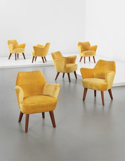 Set of six occasional chairs, designed for the 'Augustus' transatlantic ocean liner