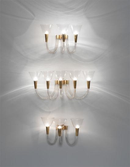 Set of three wall lights