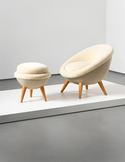'Œuf' chair and stool