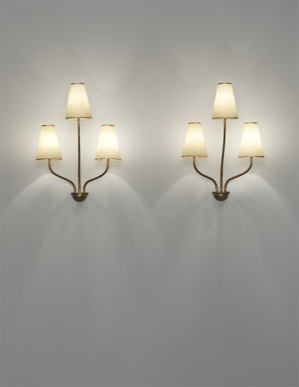 Pair of 'Persane' three-armed wall lights
