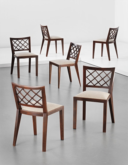 Set of six 'Croisillon' dining chairs