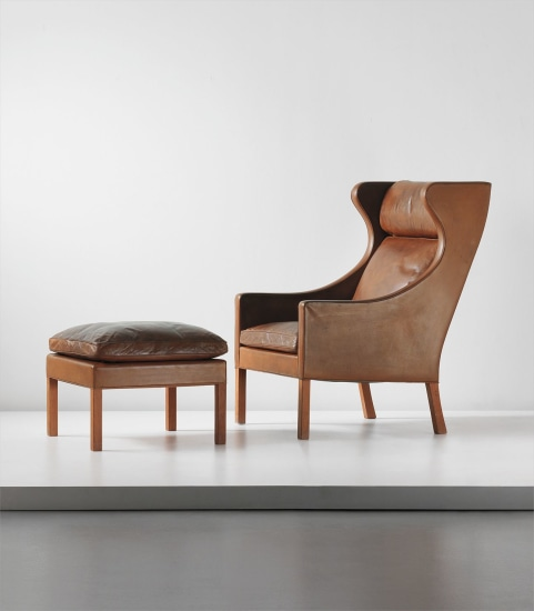 Wingback armchair, model 2204, and ottoman, model no. 2202