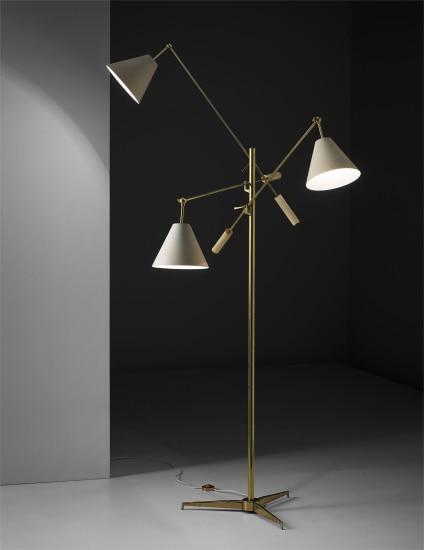 'Triennale' three-armed adjustable standard lamp, model no. 12128