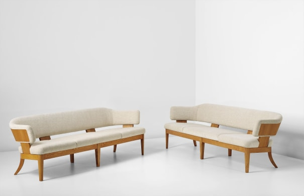 Pair of rare sofas, designed for the Copenhagen Stock Exchange, Committee Hall, Copenhagen