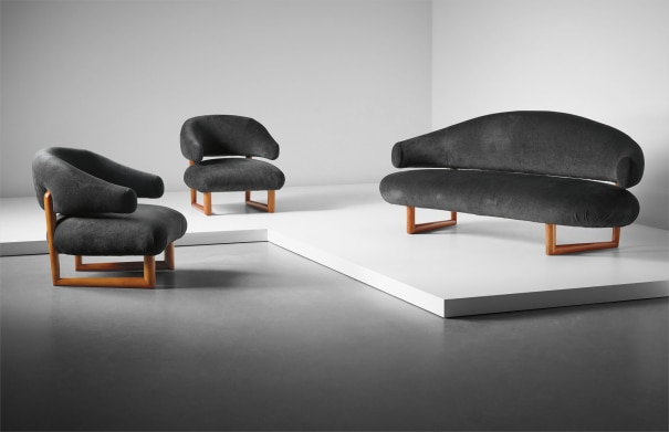 'Sculpture' sofa and pair of armchairs