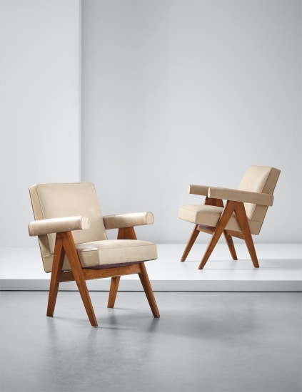 Pair of 'Committee' armchairs, model no. PJ-SI-30-A, designed for the High Court, Assembly and Punjab University administrative buildings, Chandigarh