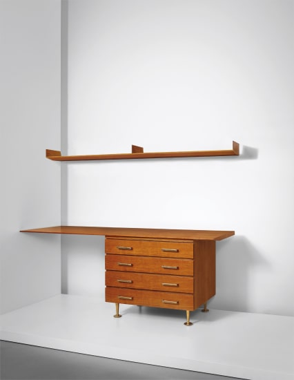Unique drawers unit with desktop and wall-mounted shelf, designed for a Villa, Liguria