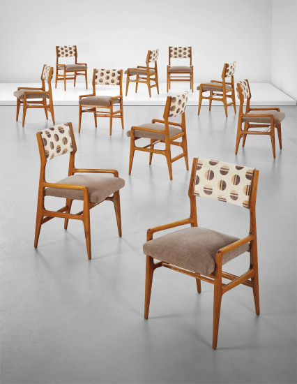 Set of ten dining chairs, from a Villa, Liguria