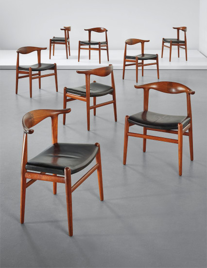 Set of eight 'Cowhorn' dining chairs, model no. JH 505