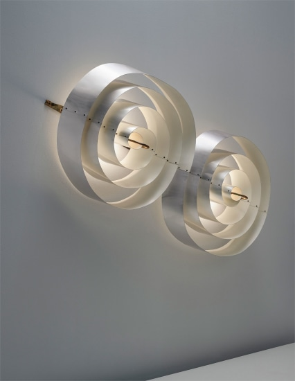 Monumental and rare double-spiral wall light, designed for the Scala Cinema and Concert Hall, Aarhus Theatre