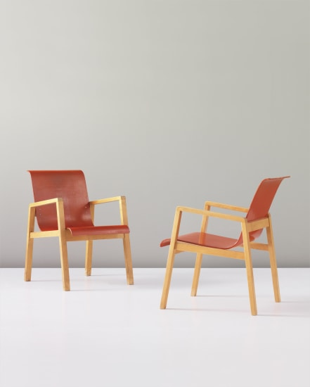 Alvar Aalto - Pair of stacking 'Hallway' chairs, designed