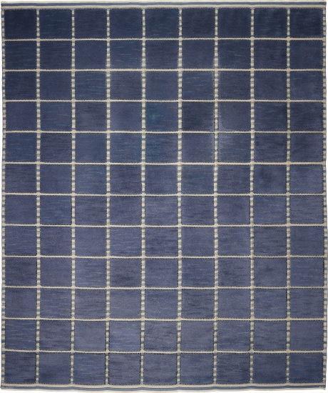 Large 'Gyllenrutan, blå (The Golden Square, blue)' rug