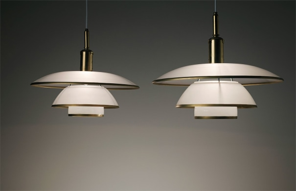Pair of early and rare large ceiling lights, type 5/5 shades