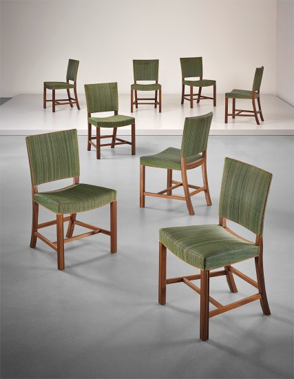 Set of eight 'Red' dining chairs, model no. 3758, designed for the Danish Museum of Art and Design's lecture room, Copenhagen
