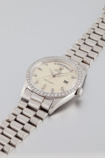 ROLEX Day-Date 'Brooklyn Bridge', platinum, ref. 1804, with diamonds bezel and indexes, manufactured in 1961