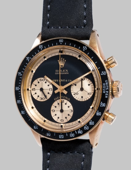 A fine, rare, important and probably unique 14k yellow gold chronograph wristwatch, retailed by Tiffany & Co.