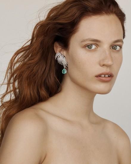 ANA KHOURI A Diamond 'Delphine' Ear Cuff and Green Tourmaline Paraiba and Diamond 'Delphine' Ear Piece
