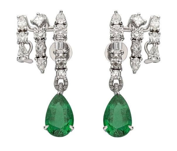 ANA KHOURI A Pair of Diamond and Emerald 'Daphne' Earrings