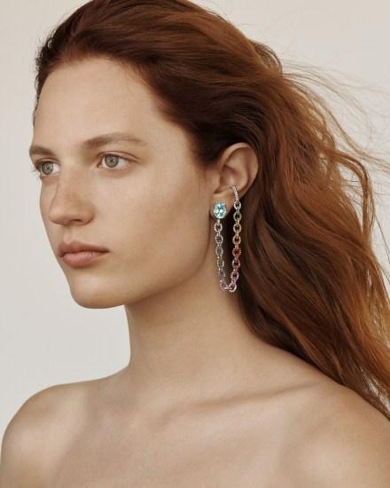 ANA KHOURI A Blue Tourmaline Paraiba, Sapphire and Diamond 'Missy' Ear Piece