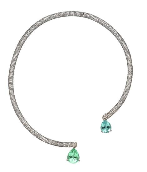 ANA KHOURI A Diamond and Tourmaline Paraiba 'Phillipa' Necklace