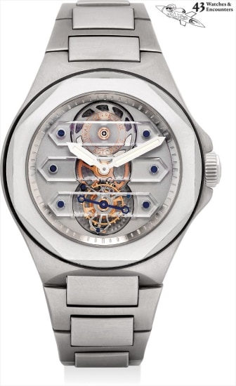Laurent Picciotto Collection: A fine, rare and unusual titanium and platinum skeletonised three sapphire bridge tourbillon wristwatch with bracelet, numbered 0