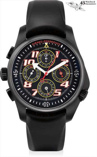 Laurent Picciotto Collection: A black PVD-coated stainless steel left-handed prototype chronograph wristwatch with date and 24 hours, numbered 0 of a limited edition of 249 pieces