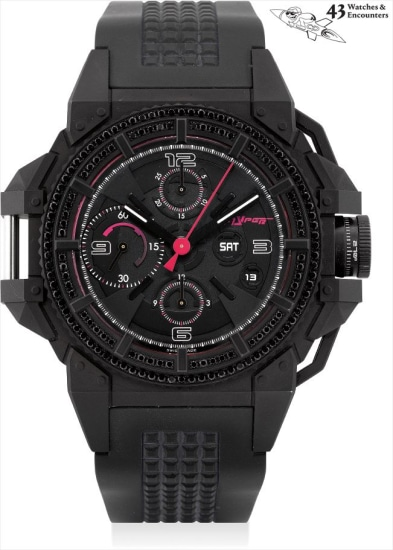 Laurent Picciotto Collection: A black PVD-coated stainless steel and black diamond-set chronograph wristwatch with day and date