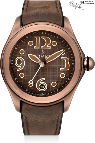 Laurent Picciotto Collection: A chocolate brown PVD-coated stainless steel wristwatch with sweep centre seconds and date, numbered 271 of a limited edition of 350 pieces