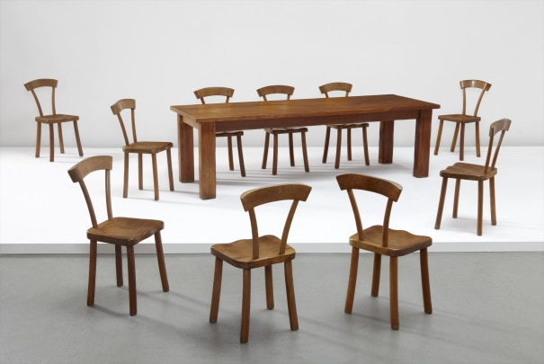 ALEXANDRE NOLL Important dining table and set of ten chairs, circa 1945