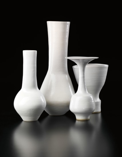 LUCIE RIE Three composite vases and a bottle with flaring lip, circa 1968-1980
