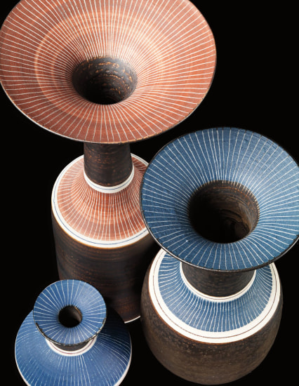LUCIE RIE Three vases, circa 1972-1980
