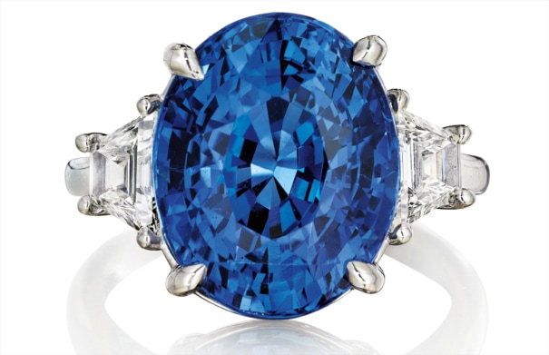 An Important Unheated Ceylon Sapphire and Diamond Ring