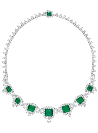 An Important Emerald and Diamond Necklace