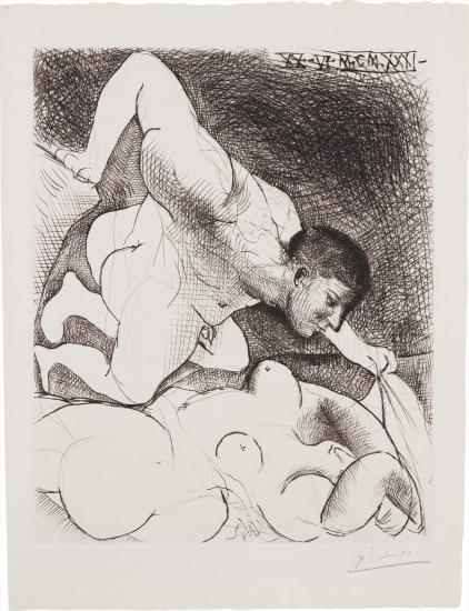 Homme dévoilant une femme (Man Unveiling a Woman), plate 5 from La Suite Vollard